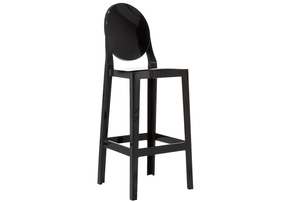 kartell one more bar stool round back barstool by philippe starck black 65cm. Black Bedroom Furniture Sets. Home Design Ideas