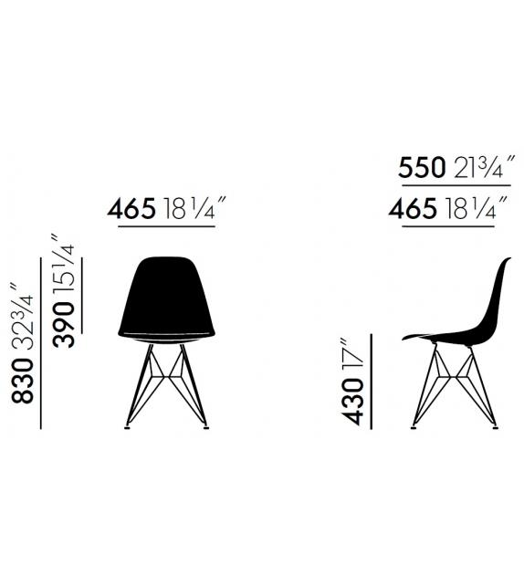 Eames Plastic Side Chair DSR Chaise Rembourré Vitra
