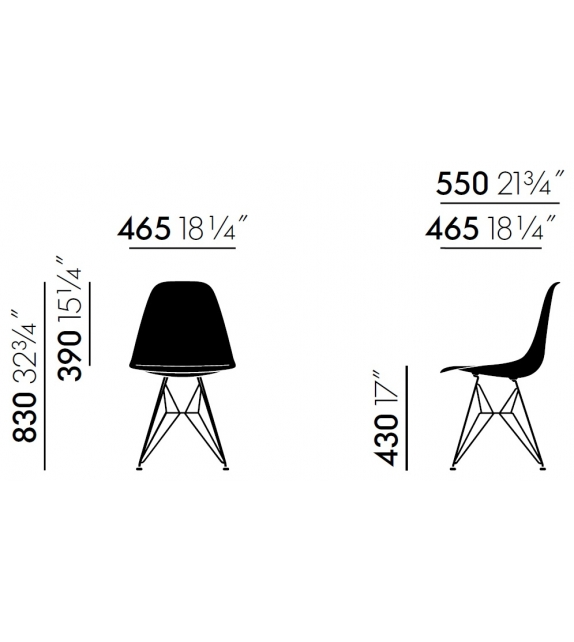 Eames Plastic Side Chair DSR Padded