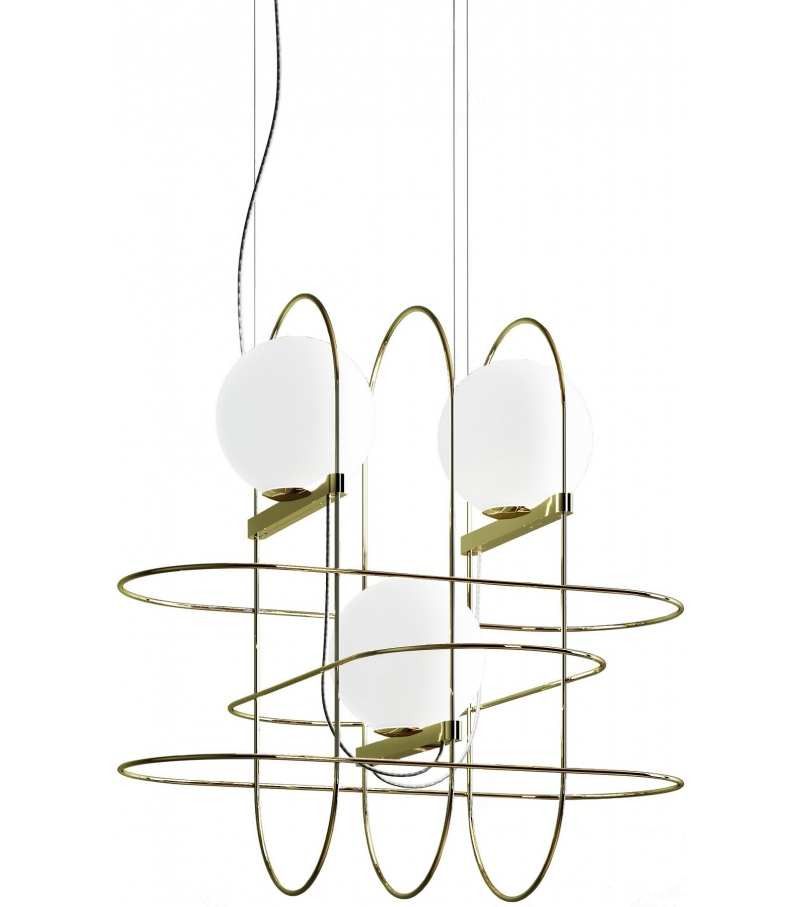 Setareh fontana arte suspension lamp with 3 spheres for Suspension a 3 lampes