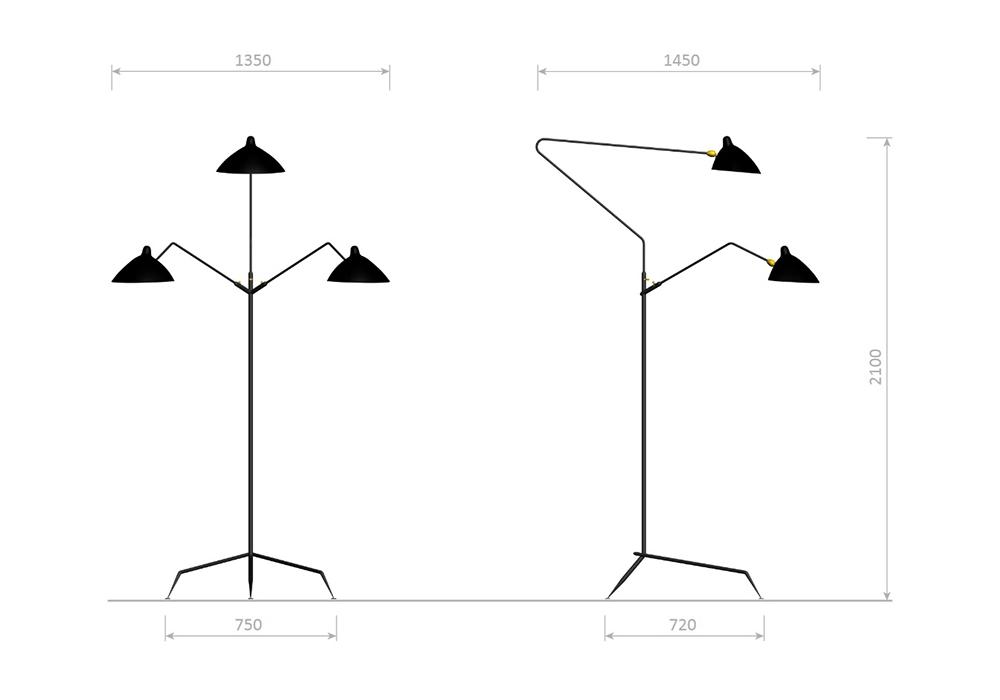lighting floor lamps standing lamp 3 arms serge mouille. Black Bedroom Furniture Sets. Home Design Ideas