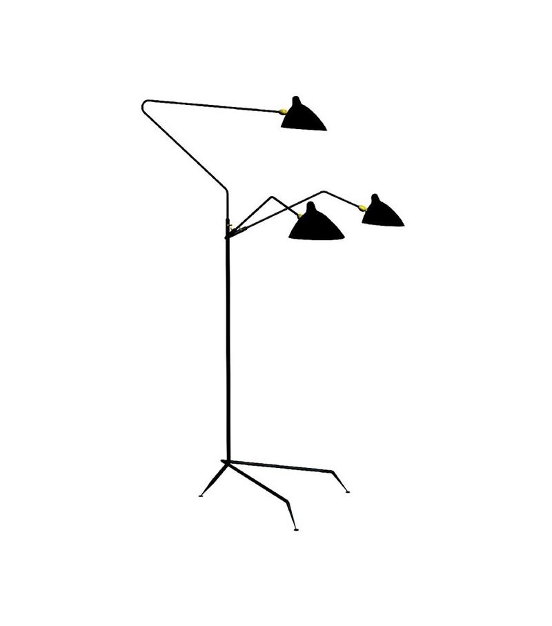 Lampadaire 3 bras pivotants serge mouille floor lamp milia shop - Lampadaire serge mouille ...