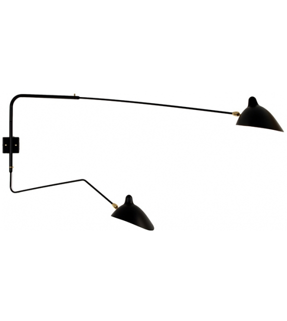 Sconce 2 Rotating Arms, 1 Straight, 1 Curved Serge Mouille