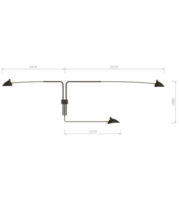Lighting > Wall lamps > Sconce 3 Rotating Straight Arms Serge ...