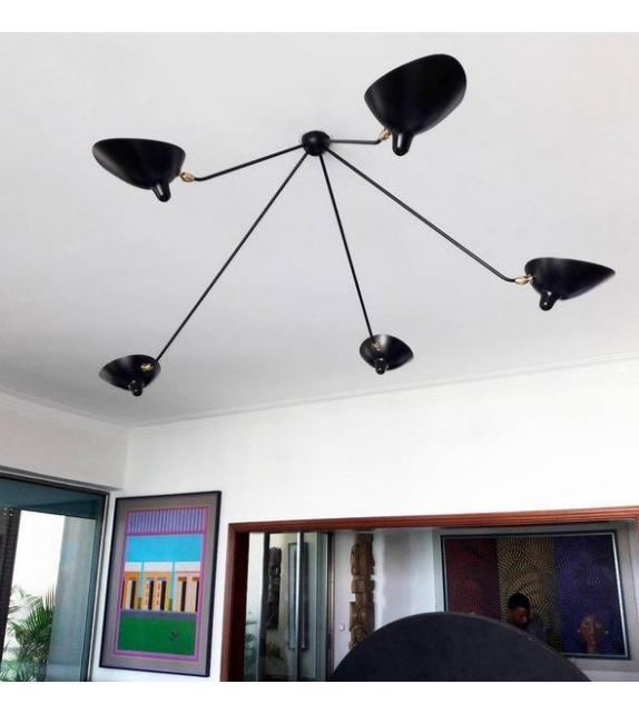 """Ceiling Lamp """"Spider"""" 5 Still Arms Serge Mouille"""