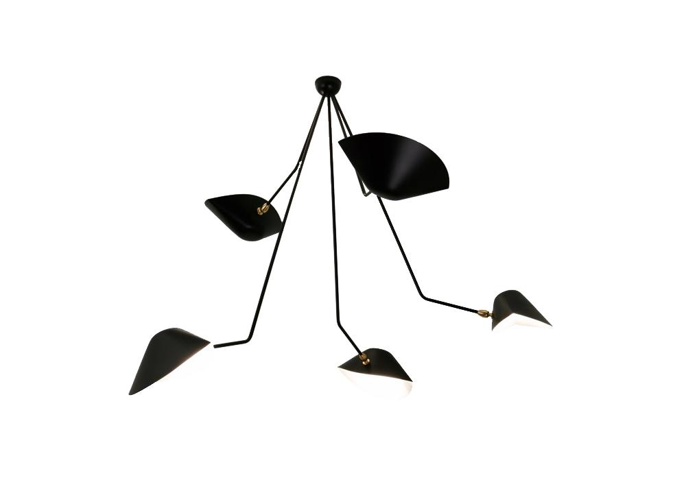 plafonnier araign e 5 bras 2 cass s fixes serge mouille milia shop. Black Bedroom Furniture Sets. Home Design Ideas
