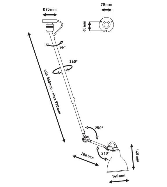 N°302 DCW Éditions-Lampe Gras Lámpara de Suspensión