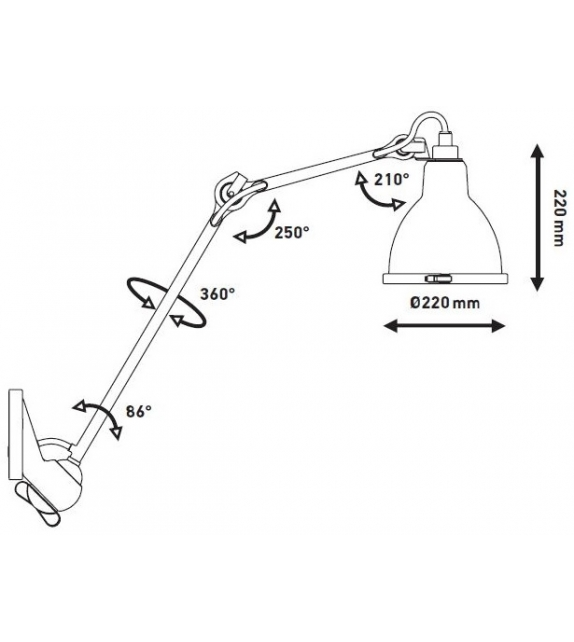 N°222 XL DCW Éditions-Lampe Gras Lampada da Parete