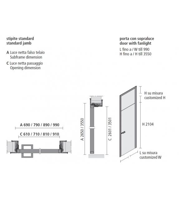 Link+ Swing Door With Overhead Lights Rimadesio