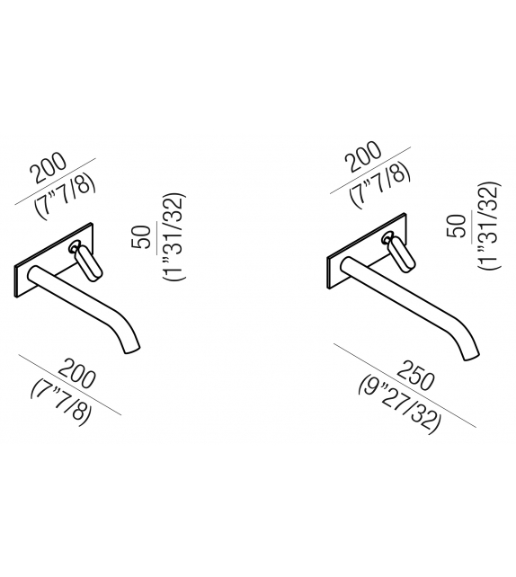 Square Agape Wall Mounted Mixer Tap