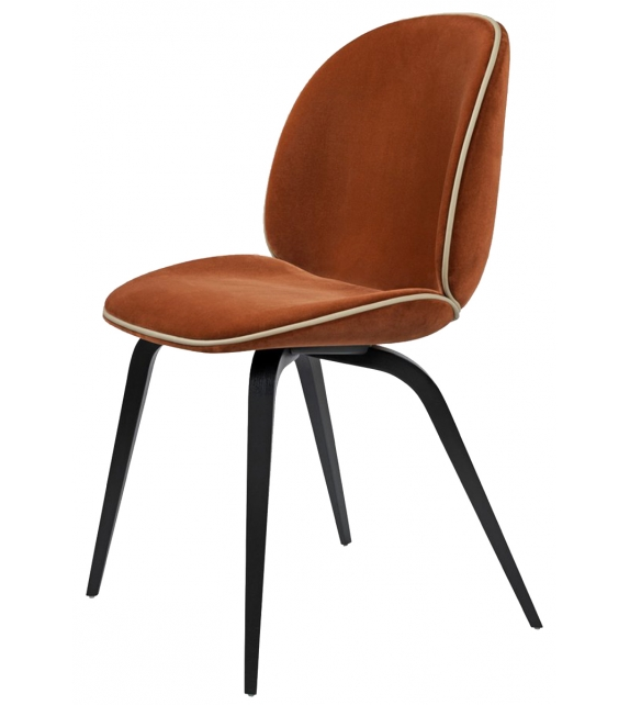 Beetle Dining Gubi Upholstered Chair with Wood Base