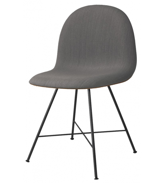 3D Gubi Front Upholstered Chair with Metal Base