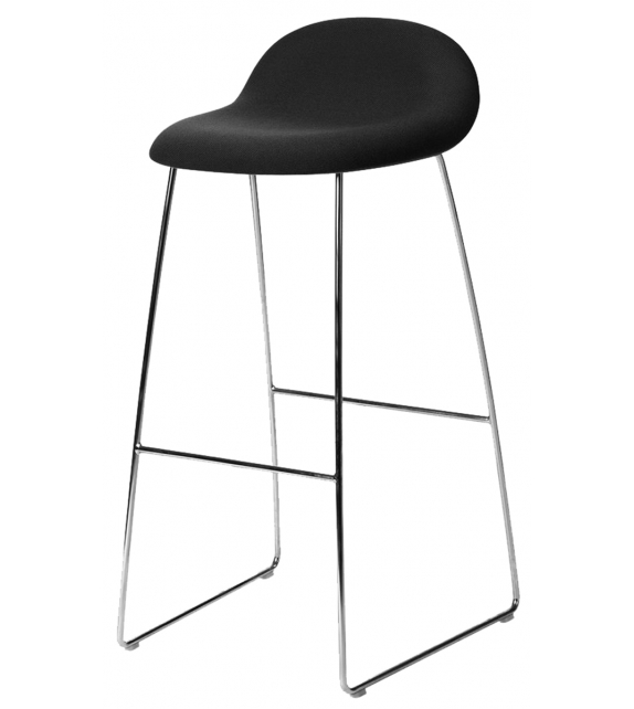 3D Gubi Upholstered Stool with Sledge Base