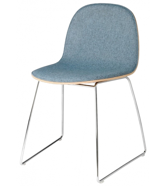 3D Gubi Front Upholstered Chair with Sledge Base