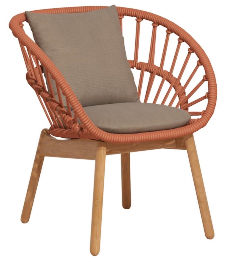 Cala Kettal Dining Armchair with Wooden Legs - Milia Shop
