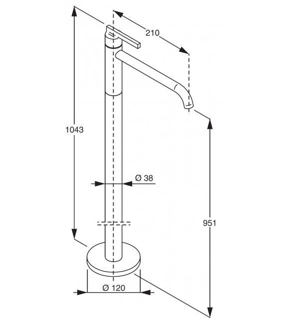 Liquid Boffi Mezclador Monomando de Pie para Lavabo