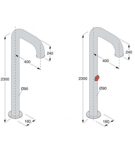 Pipe Boffi Floor-Mounted Shower Spout