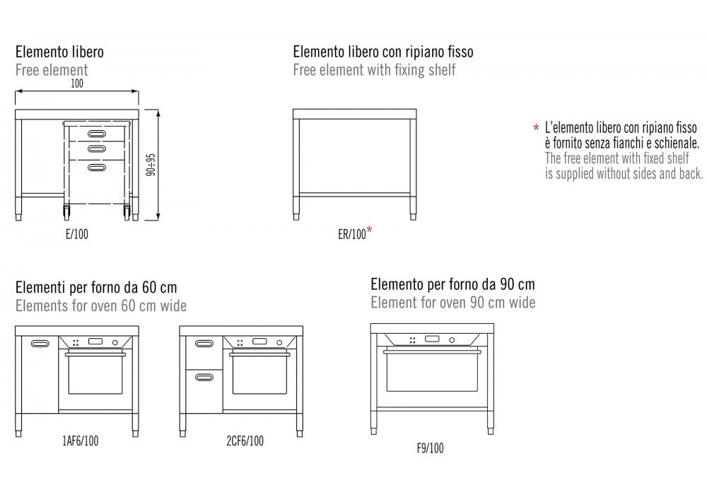 Composizione Cucina 100 Alpes Inox - Milia Shop