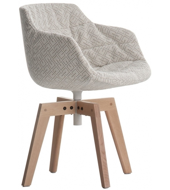 MDF Italia Flow Textile Chair With 4 oak Legs VN
