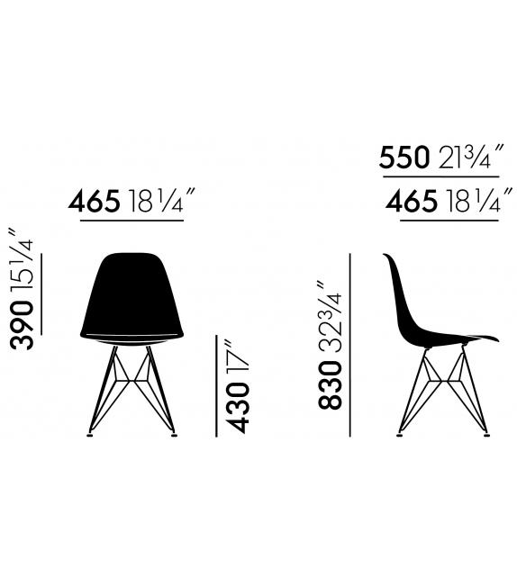 Eames Fiberglass Chair DSR Vitra Sedia
