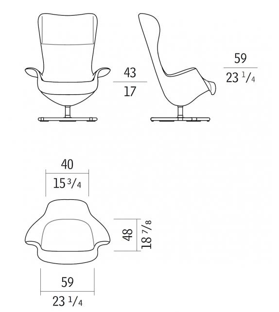 Tilt Bicolored Swivel Wing Chair Giorgetti