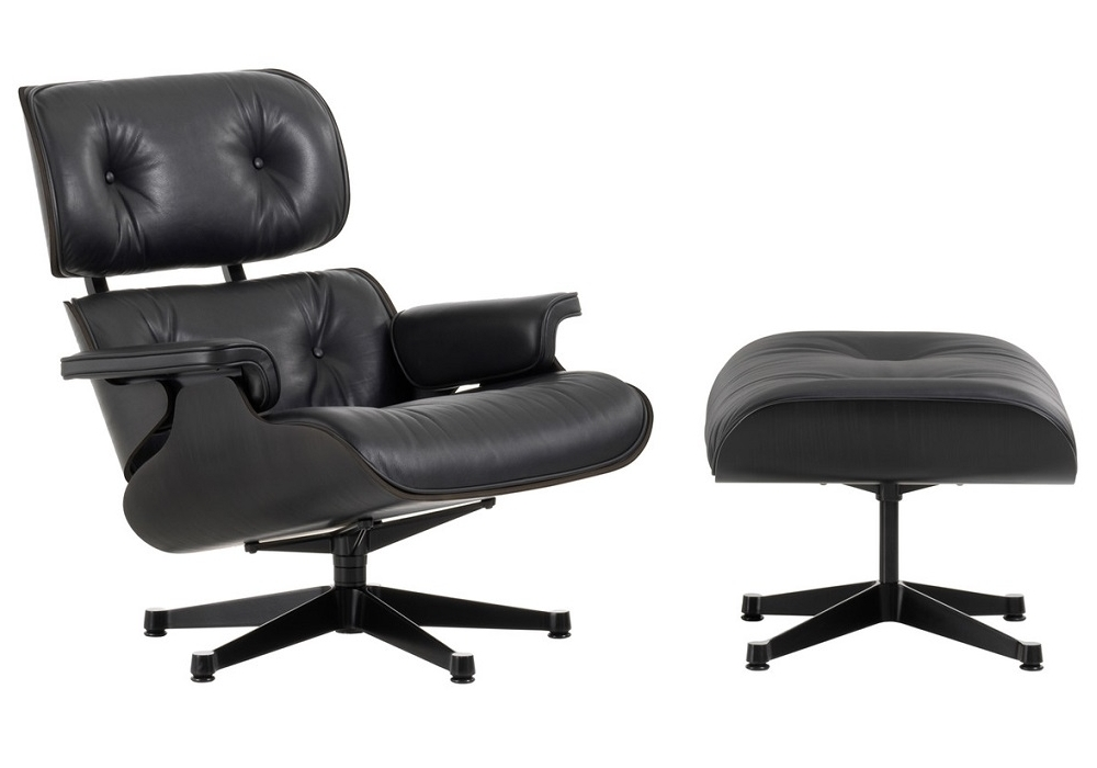 lounge chair ottoman black version vitra milia shop. Black Bedroom Furniture Sets. Home Design Ideas