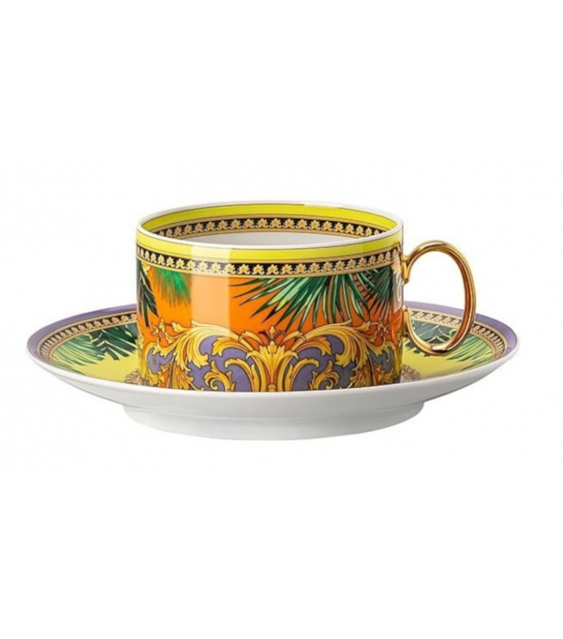 Jungle Animalier Yellow Rosenthal Versace Cup & Saucer 4 Low
