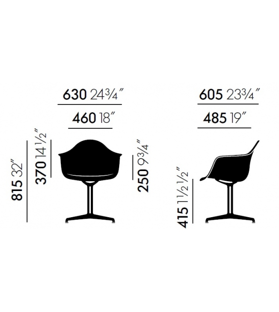Eames Plastic Armchair DAL With Upholstery Vitra