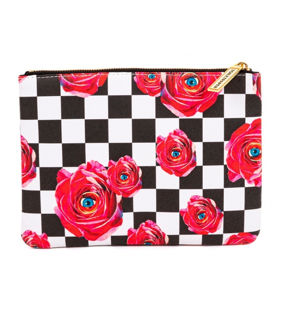 Ready for shipping - Roses on Check Seletti Cosmetic Bag
