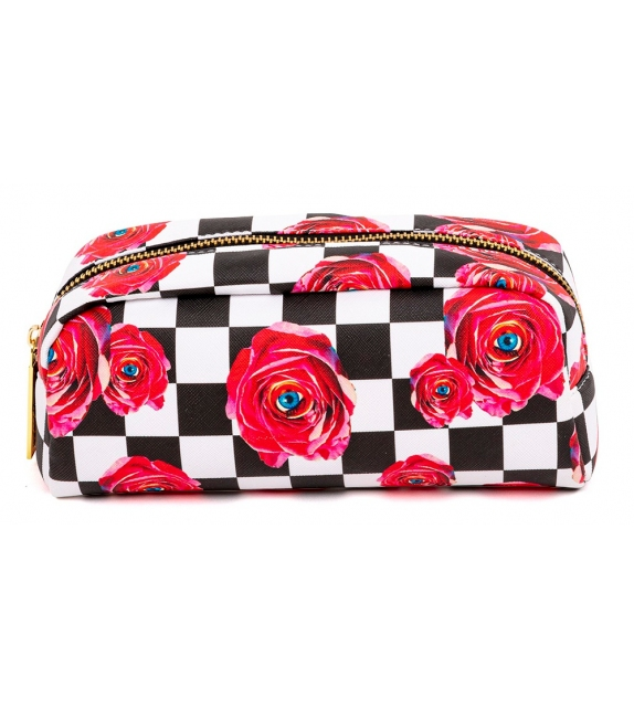 Ready for shipping - Roses on Check Seletti Clutch Bag