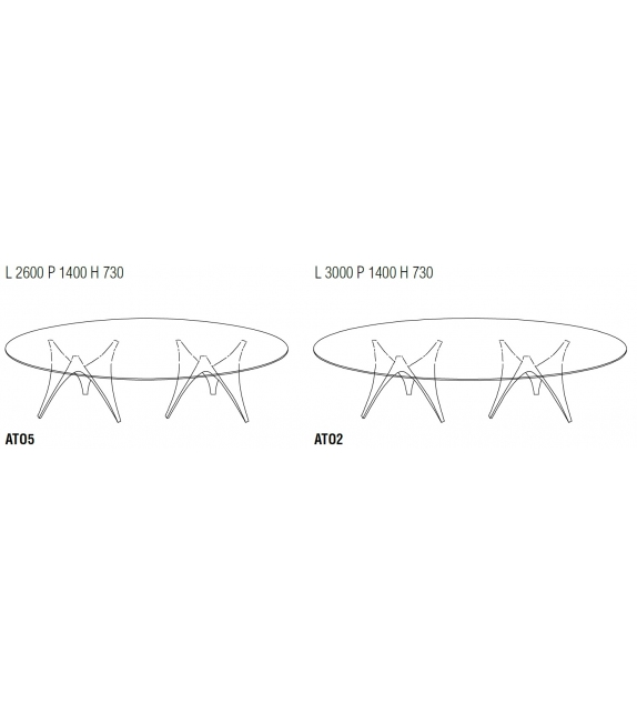 Arc Table Ovale Base Double Molteni & C