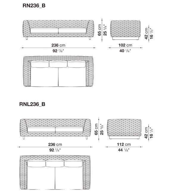 Ray Outdoor Natural B&B Italia Outdoor Sofa with Wooden Base