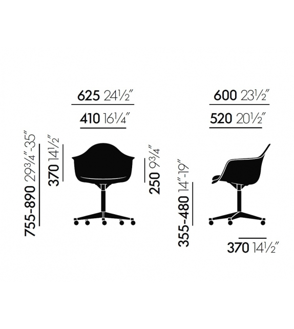 Eames Plastic Armchair PACC Swivel Chair With Padding Vitra
