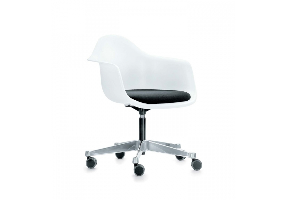 Eames plastic armchair pacc sedia girevole con cuscino vitra