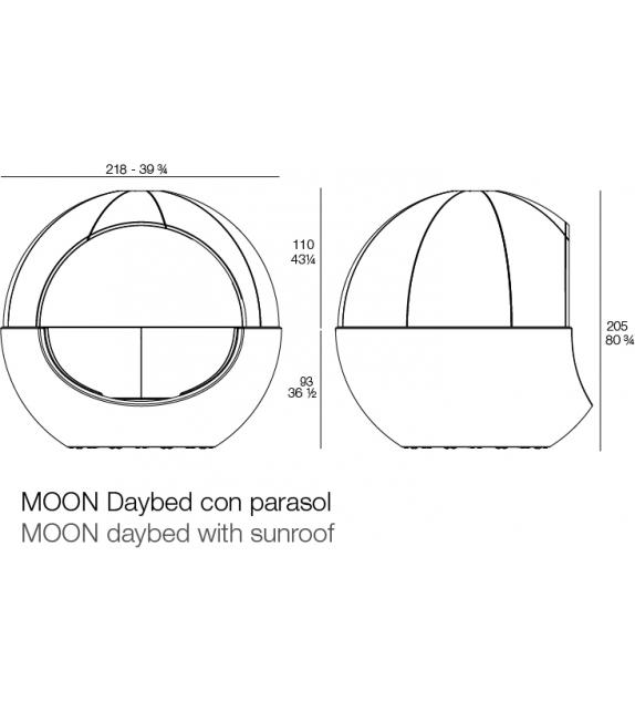 Moon Vondom Daybed Avec Pare-Soleil en Tissu