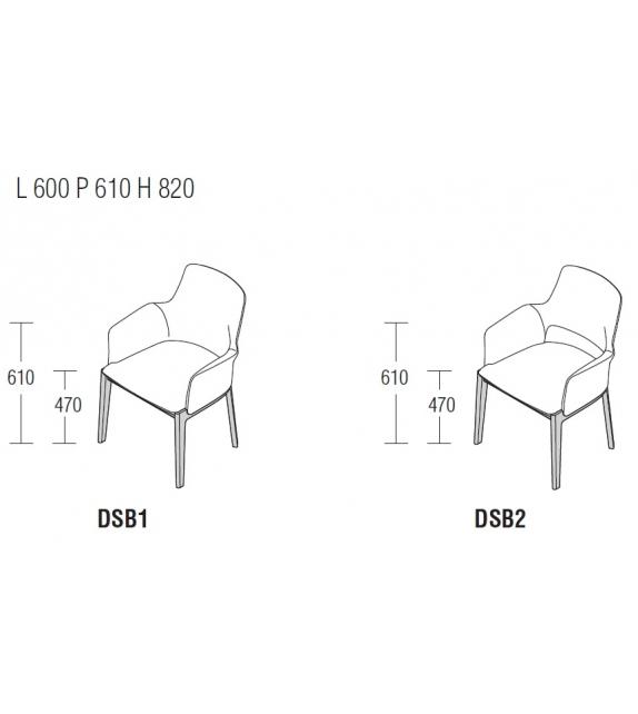 Devon Molteni & C Chair with Armrests