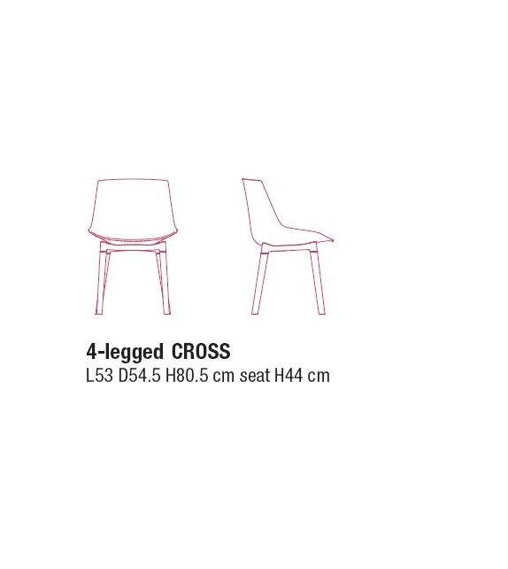 Flow Chair MDF Italia Chaise Rembourrée 4 Pieds Cross