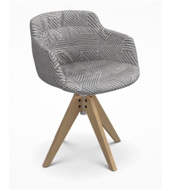 Flow Textile Chaise avec Pieds VN en Chêne MDF Italia