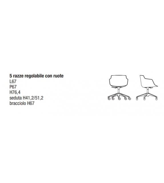 Flow Slim Stuhl mit 5 Sternfüße mit Rollen MDF Italia