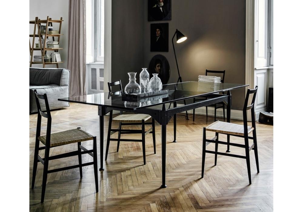 839 tl3 tavolo con piano in vetro cassina milia shop for Tavolo cassina