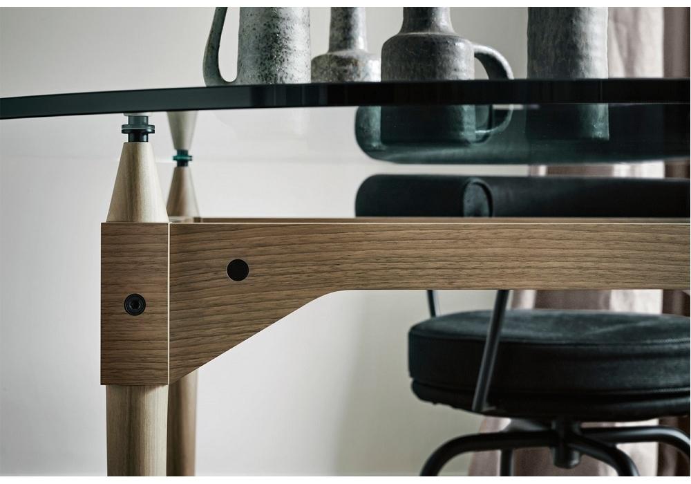 839 tl3 tisch mit glas platte cassina milia shop. Black Bedroom Furniture Sets. Home Design Ideas
