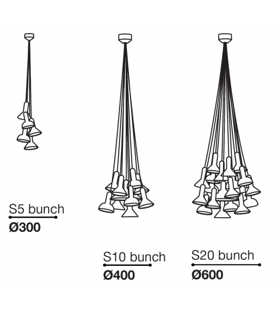 Torch Light Bunch Suspension Lamp Established&Sons