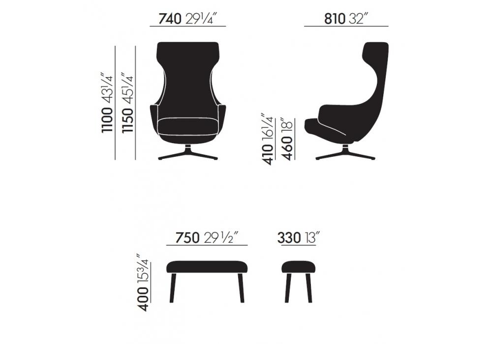 Poltrona Grand Repos Vitra.Grand Repos Panchina Vitra Wing Chair Milia Shop