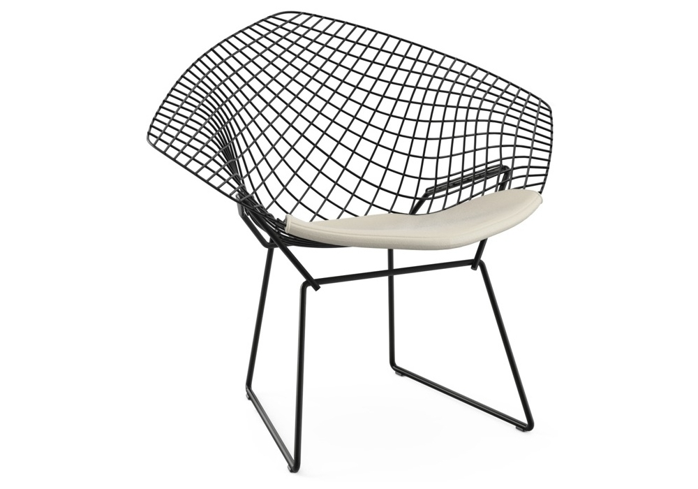 Bertoia diamond chair with cushion knoll milia shop for Chaise bertoia knoll