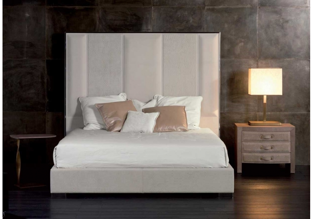 Stripe Bed With High Headboard Rugiano Milia Shop