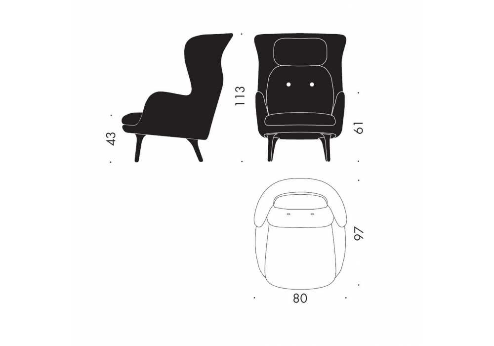 ro lounge chair fritz hansen milia shop. Black Bedroom Furniture Sets. Home Design Ideas