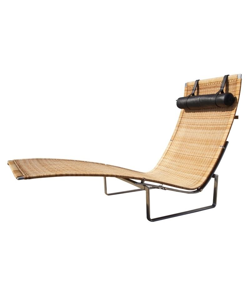 Pk24 wicker chaise longue fritz hansen milia shop for Chaise longue rattan