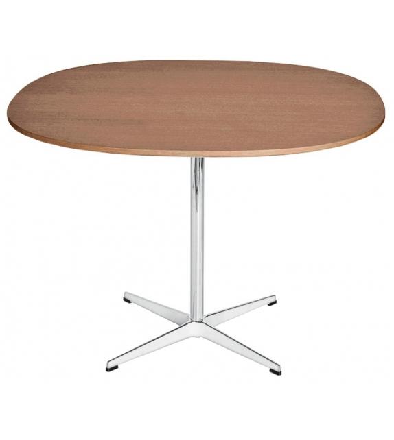 Table Series Supercircular Mesa Con Superior En Nogal Base En Pedestal Fritz Hansen