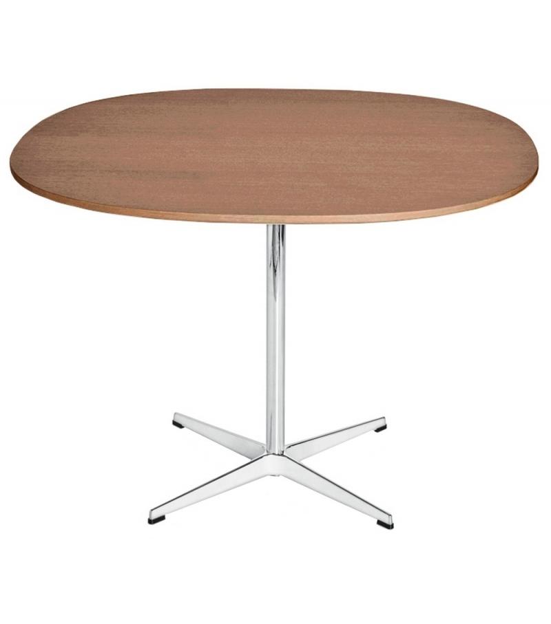 Table Series Supercircular Tavolo Con Piano In Noce Base Piedistallo Fritz Hansen