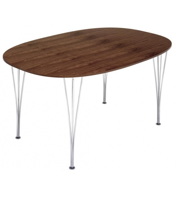 Table Series Super-Elliptical Span Legs Walnut Top Fritz Hansen